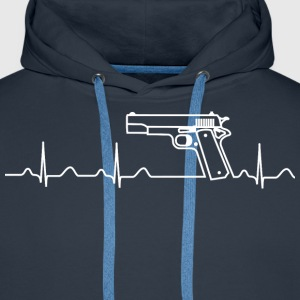 Hoody, Heartbeat, Pistole, Colt Government - Männer Premium Hoodie