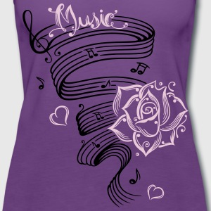 Music notes with music sheet and rose - Women's Premium Tank Top