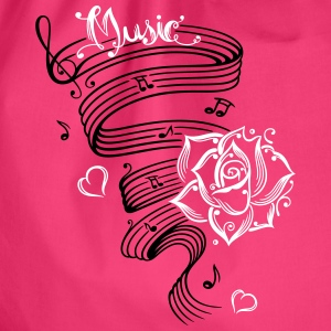 Music notes with music sheet and rose - Drawstring Bag