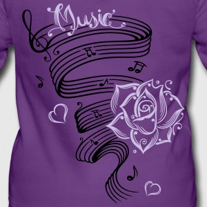 Music notes with music sheet and rose - Women's Premium Hooded Jacket