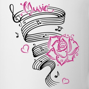 Music notes with music sheet and rose - Mug