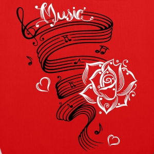 Music notes with music sheet and rose - EarthPositive Tote Bag