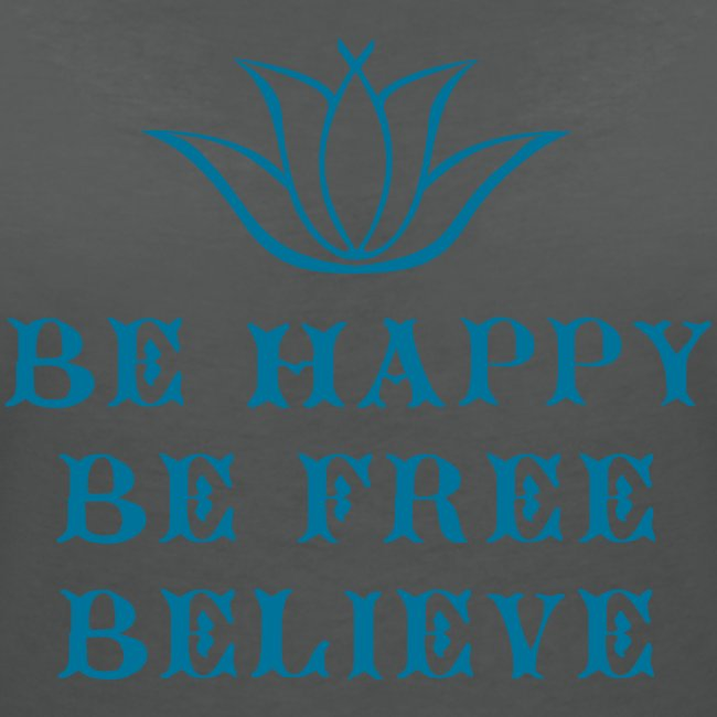 T-shirt Bio col V Femme Be happy Be free Believe