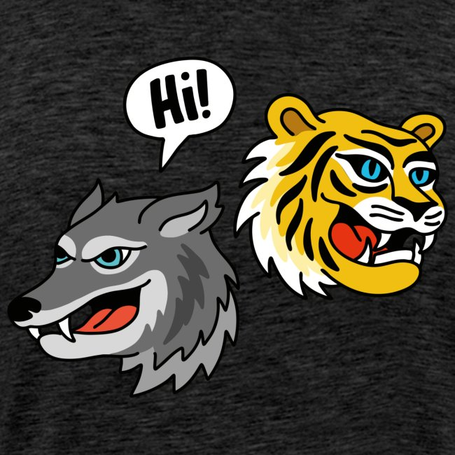 Hi, Wolf & Tiger! / Superhero T-Shirt für Männer