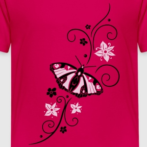 Big colorful butterfly with filigree tribal. - Teenage Premium T-Shirt