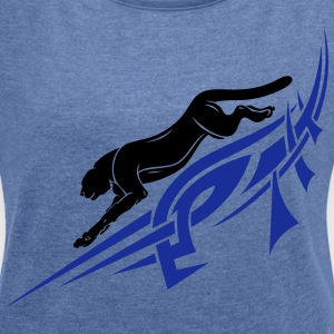 Panther with Tribal, Tattoo. - Women's T-shirt with rolled up sleeves