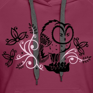 Owl with flowers and leaves. - Women's Premium Hoodie