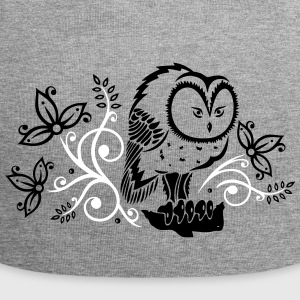 Owl with flowers and leaves. - Jersey Beanie