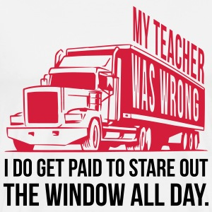 Trucker: I get paid to stare out the window T-skjorter - Premium T-skjorte for menn
