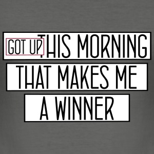 got up this morning_vec_3 fr Tee shirts - Tee shirt près du corps Homme