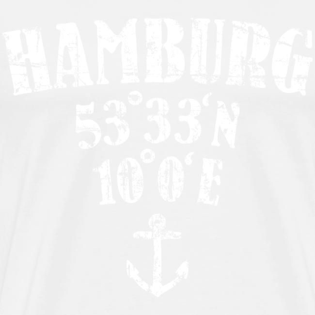Hamburg Koordinaten (Vintage/Weiß)  S-5XL T-Shirt