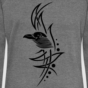 Tribal, tattoo with crows head. - Women's Boat Neck Long Sleeve Top