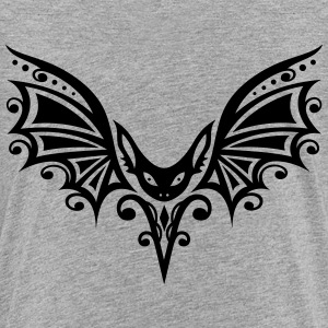 Flying Bat, Tribal and Tattoo Design - Teenage Premium T-Shirt