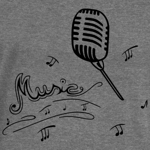 Microphone with music notes - Women's Boat Neck Long Sleeve Top