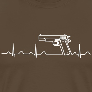 T-Shirt, Heartbeat, Pistole, Colt Government - Männer Premium T-Shirt