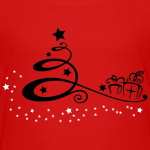 Abstract christmas tree with stars and gifts. - Teenage Premium T-Shirt