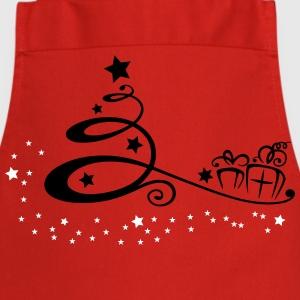 Abstract christmas tree with stars and gifts. - Cooking Apron