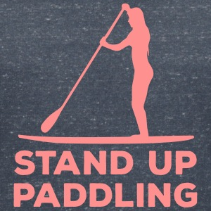 Standing paddler SUP Paddle Sports water sports summer T-Shirts - Women's V-Neck T-Shirt