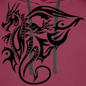 Beautiful, big tattoo dragon with wings. - Men's Premium Hoodie