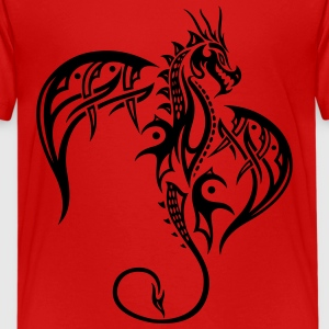 Beautiful, big tattoo dragon with wings. - Teenage Premium T-Shirt