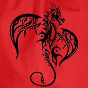 Beautiful, big tattoo dragon with wings. - Drawstring Bag