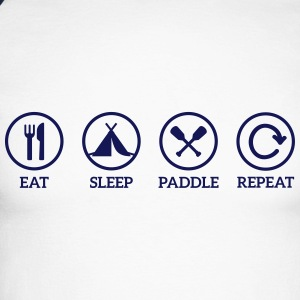eat sleep paddle paddling Canoe Kayak repeat saying Long sleeve shirts - Men's Long Sleeve Baseball T-Shirt