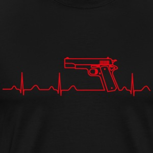 T-Shirt, Colt Pistole Government, Heartbeat Design - Männer Premium T-Shirt