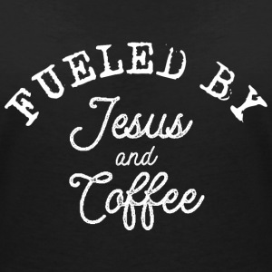 Fueled by Jesus and Coffee T-Shirts - Frauen T-Shirt mit V-Ausschnitt