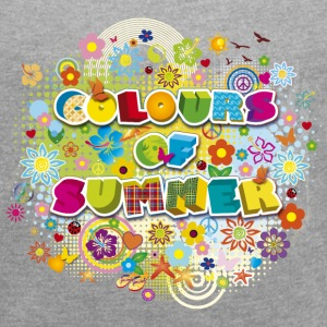 Colours of summer Flower Power Sommer Blumenwiese - Frauen T-Shirt mit gerollten Ärmeln