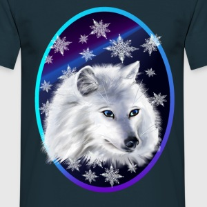 WHITE SNOW WOLF  oval - Männer T-Shirt