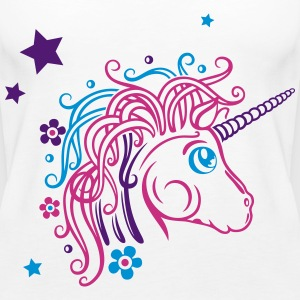 Colorful unicorn with stars and flowers Tops - Women's Premium Tank Top