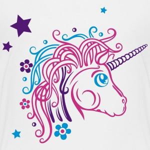 Colorful unicorn with stars and flowers Shirts - Teenage Premium T-Shirt