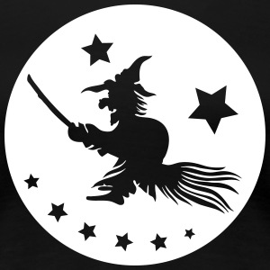 Halloween witch on a broom. Full moon time. T-Shirts - Women's Premium T-Shirt