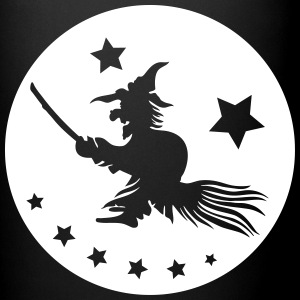 Halloween witch on a broom. Full moon time. Mugs & Drinkware - Full Colour Mug