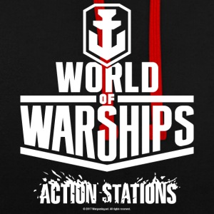 World of Warships White Logo Collection - Hoodie - Sudadera con capucha en contraste