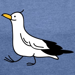 Funny seagull T-Shirts - Women's T-shirt with rolled up sleeves