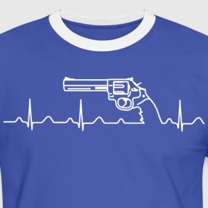 T-Shirt, Smith Wesson Revolver, Heartbeat, weiß - Männer Kontrast-T-Shirt