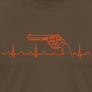 T-Shirt, Smith Wesson Revolver, Heartbeat, orange - Männer Premium T-Shirt