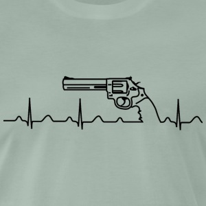 T-Shirt, Smith Wesson Revolver, Heartbeat, schwarz - Männer Premium T-Shirt