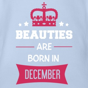 Beauties are born in December Baby Bodysuits - Organic Short-sleeved Baby Bodysuit