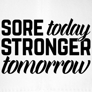 Stronger Tomorrow Gym Quote Caps & Mützen - Flexfit Baseballkappe