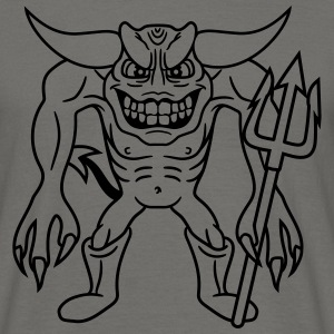 grijnzend demon hel satan drietand monster vervele T-shirts - Mannen T-shirt