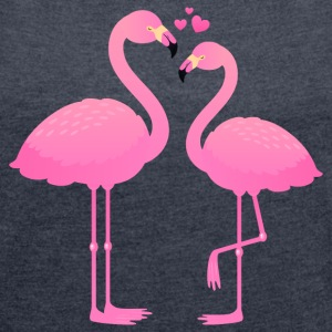 Flamingo Love Couple T-Shirts - Frauen T-Shirt mit gerollten Ärmeln