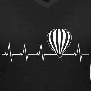 Hot air balloon - heartbeat T-Shirts - Women's V-Neck T-Shirt