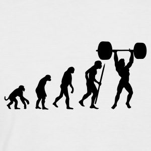 White/black Evolution of pumping iron Men's T-Shirts - Men's Baseball T-Shirt