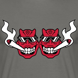 2 friends team party face head smoking drugs cool  T-Shirts - Men's T-Shirt