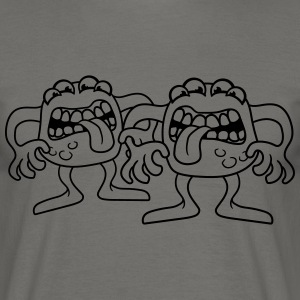 2 friends team couple duo many eyes muzzle eat cut T-Shirts - Men's T-Shirt