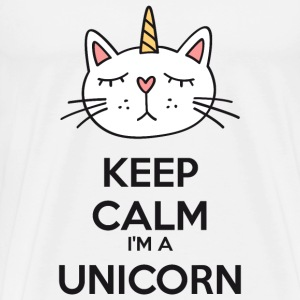 Keep calm chat licorne Tee shirts - Premium T-skjorte for menn