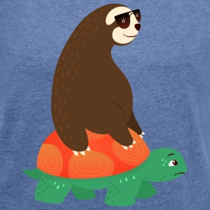 Sloth With Sunglasses Riding On Tortoise T-shirts - Dame T-shirt med rulleærmer