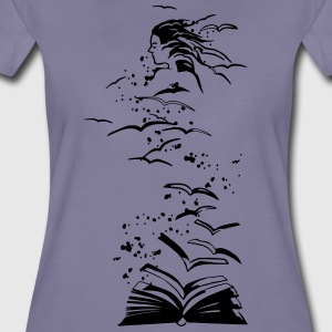 flying books - Frauen Premium T-Shirt
